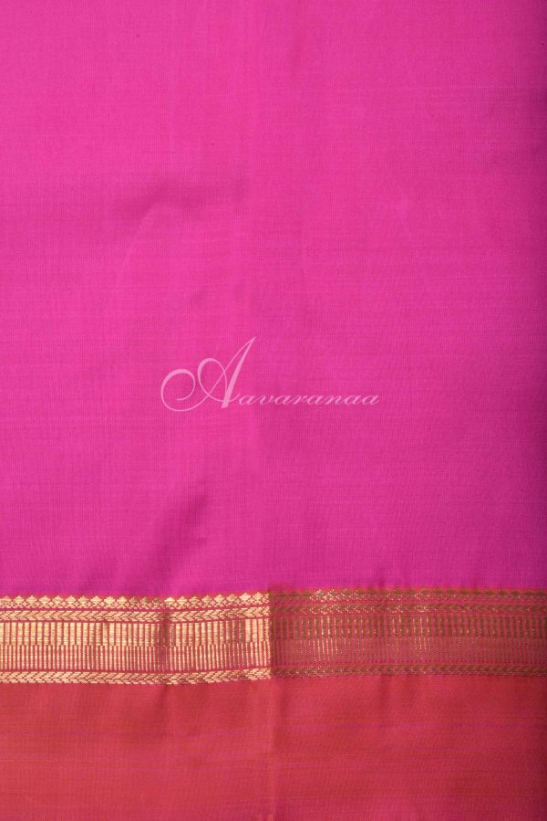 Beige kancheepuram silk saree with multicolour border-16514