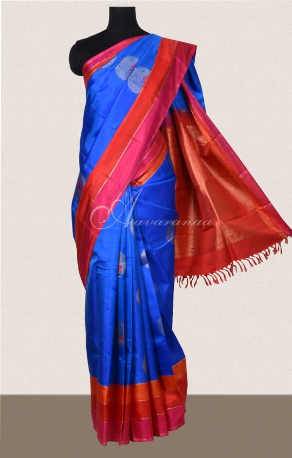 MS Blue kanchi silk saree with pink and red border-0