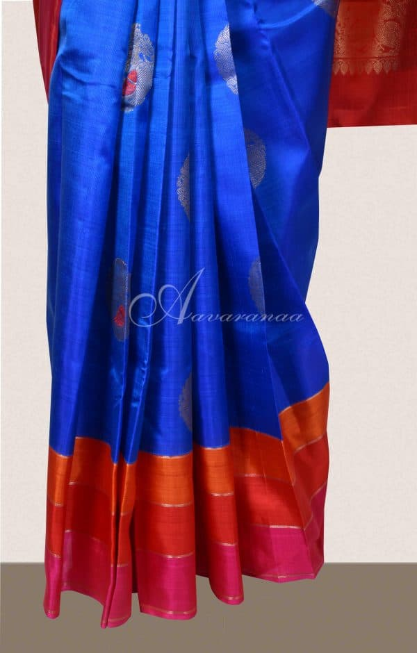 MS Blue kanchi silk saree with pink and red border-16507