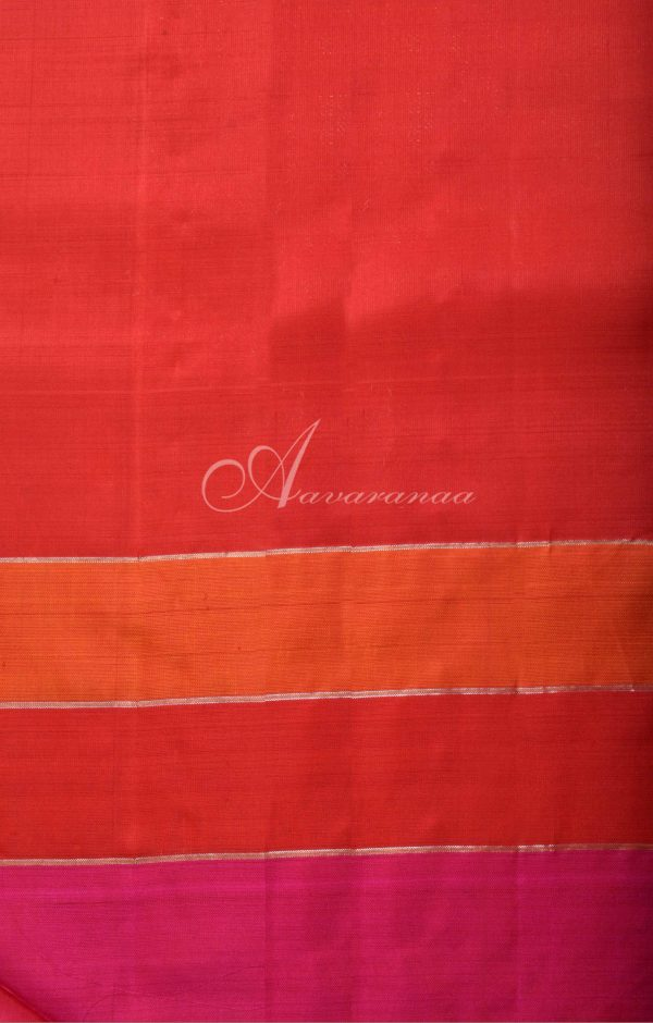 MS Blue kanchi silk saree with pink and red border-16506