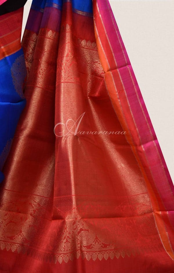 MS Blue kanchi silk saree with pink and red border-16508