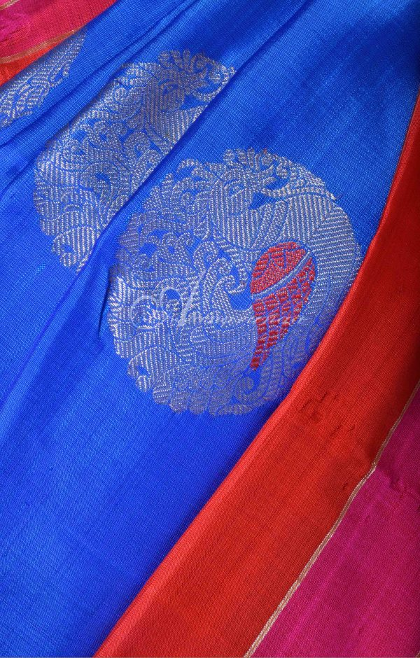 MS Blue kanchi silk saree with pink and red border-16509
