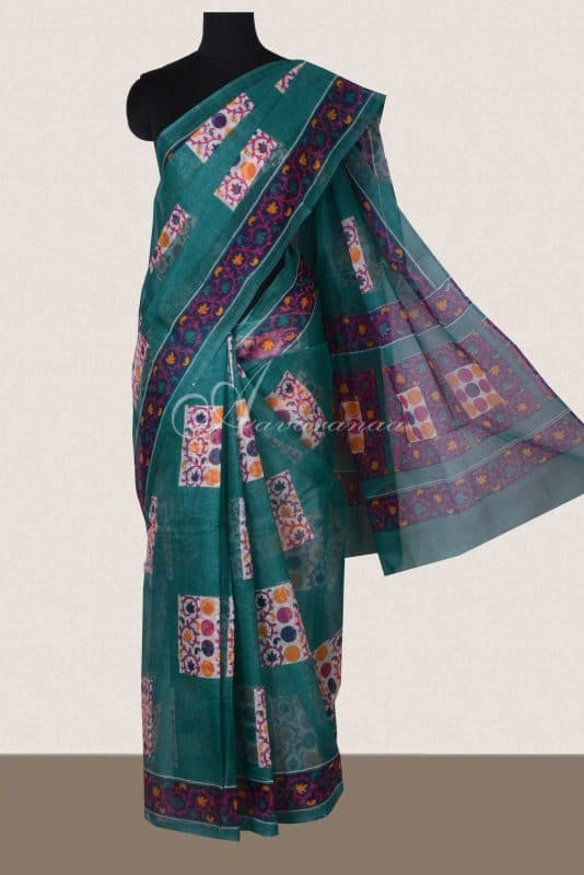 Teal green geometrical printed supernet sarees -0
