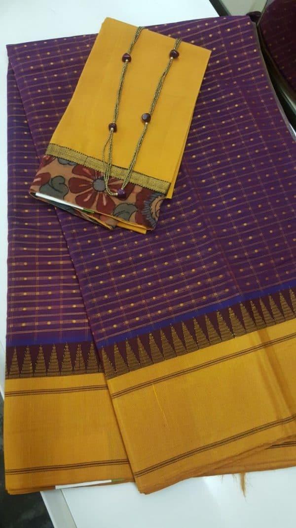 Majentha pink and mustard cotton with silk border saree-0