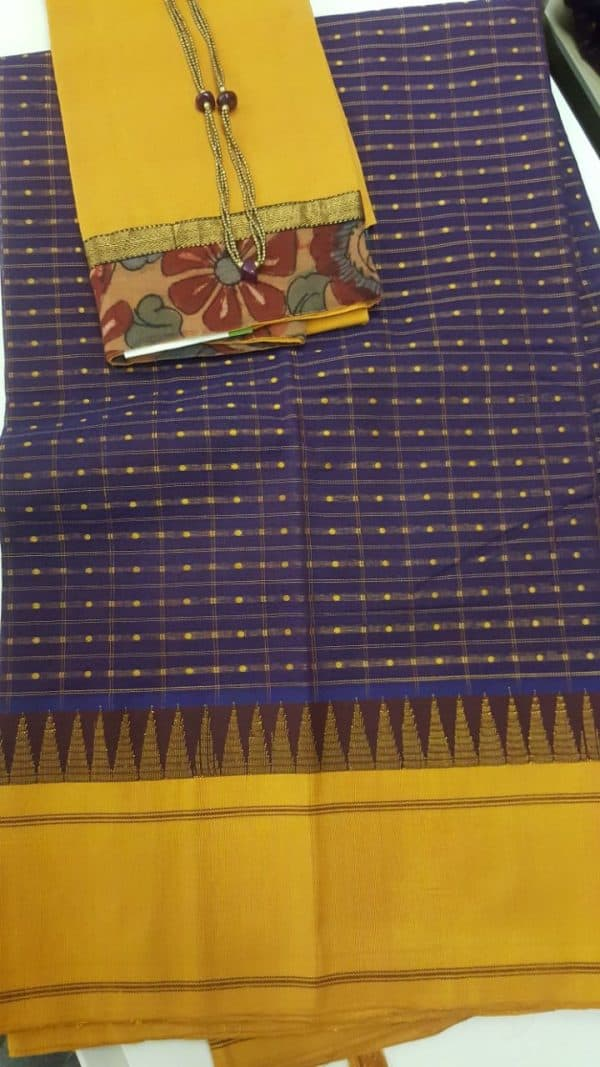 Voilet cotton with silk border saree-0