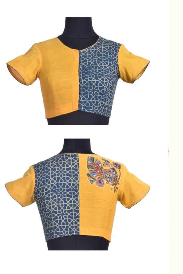 Yellow kalamkari applique ajrakh blouse-17362