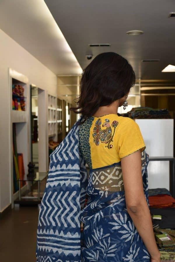 Yellow kalamkari applique ajrakh blouse-0