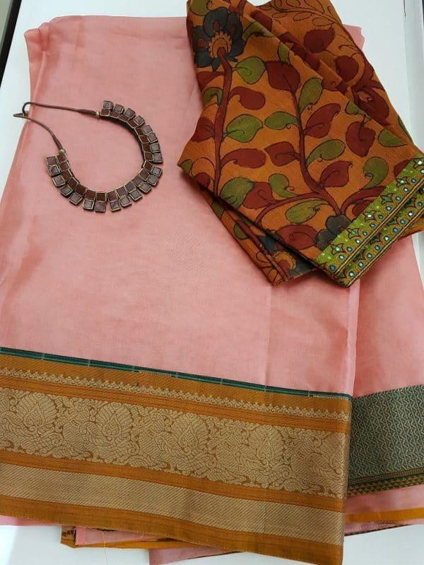 Peach organza saree with kanchi cotton border-0