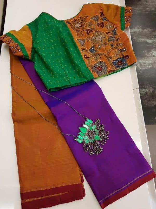 Mustard purple half and half kanchi silk saree-0