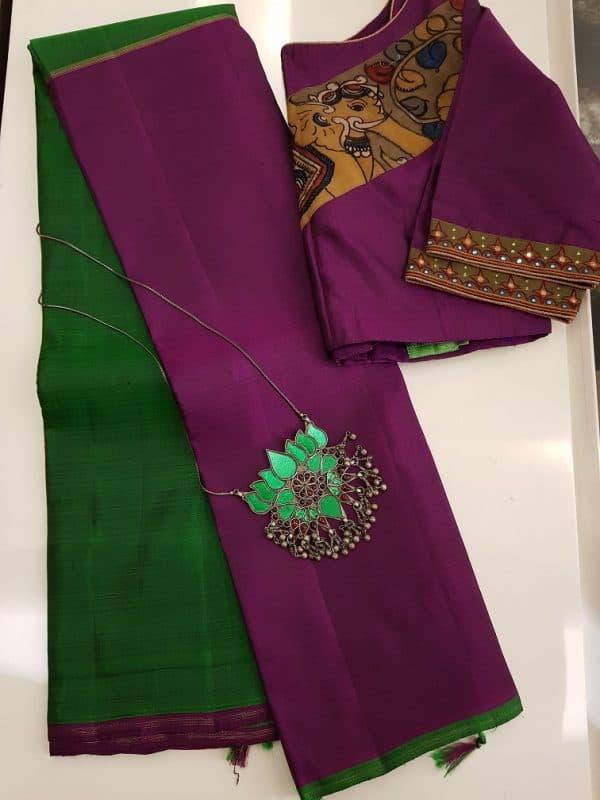 Majenta and green half and half kanchi silk saree-0