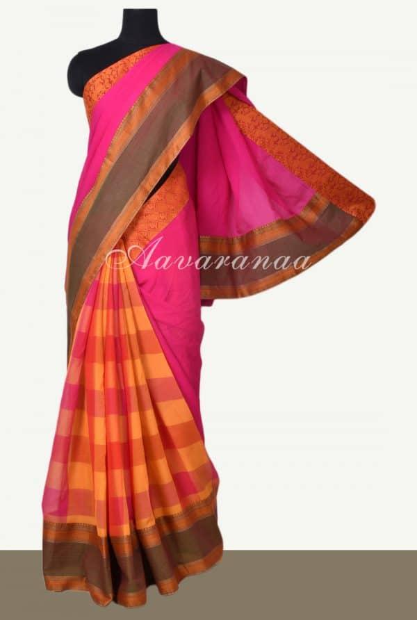 Pink checks chiffon saree with kanchi cotton border-0