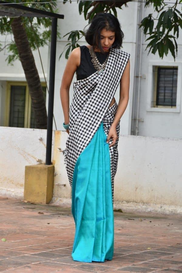 Yellow with black and white checked half & half kanchipuram silk saree-16986