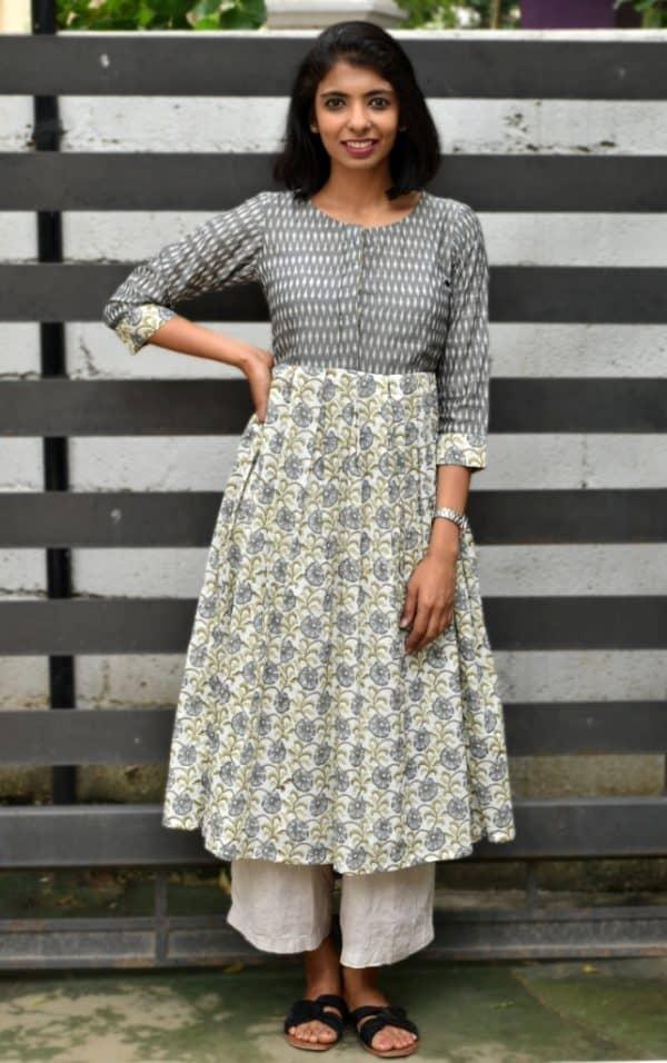 Grey ikat yellow printed cotton tunic-0