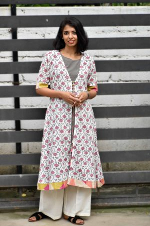 Cream floral print cotton kurta with grey layering-0