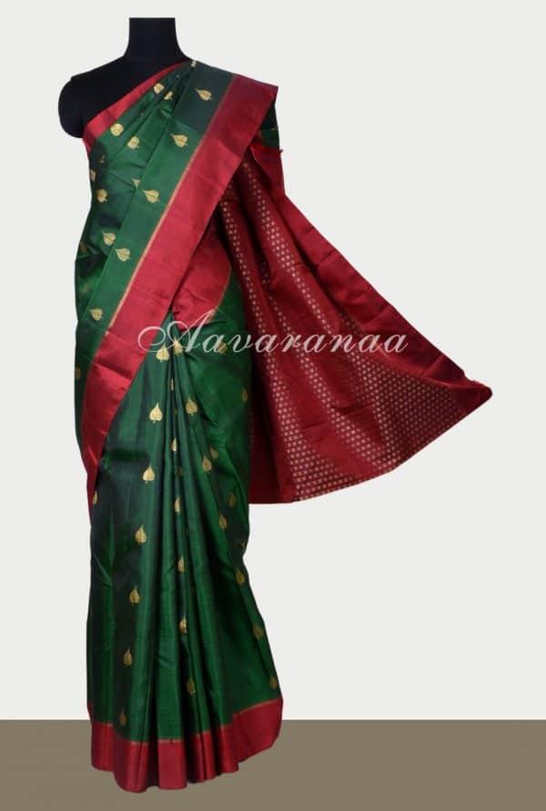 Dark green kanchi silk saree with maroon border -0