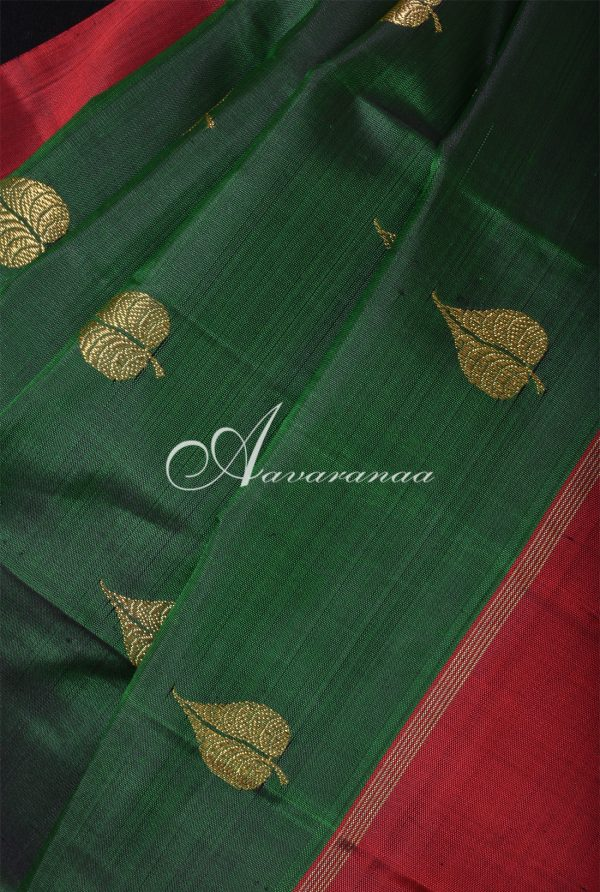 Dark green kanchi silk saree with maroon border -16814