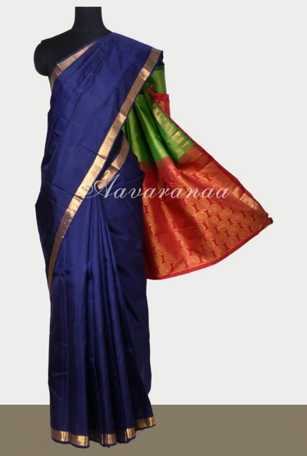 Navy blue kancheepuram silk saree with two colour pallu-0