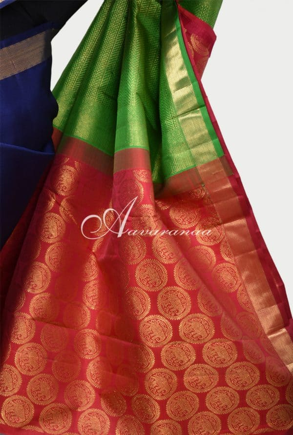 Navy blue kancheepuram silk saree with two colour pallu-16851