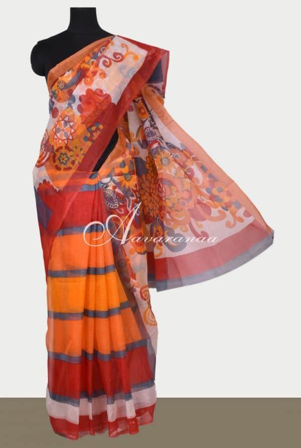 Orange printed supernet saree-0