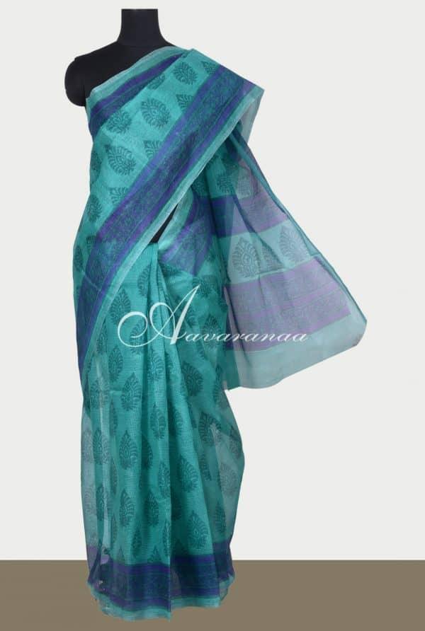Turquoise printed supernet saree-0