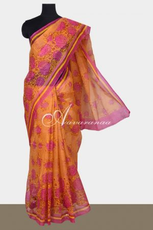 Orange printed supernet saree-0