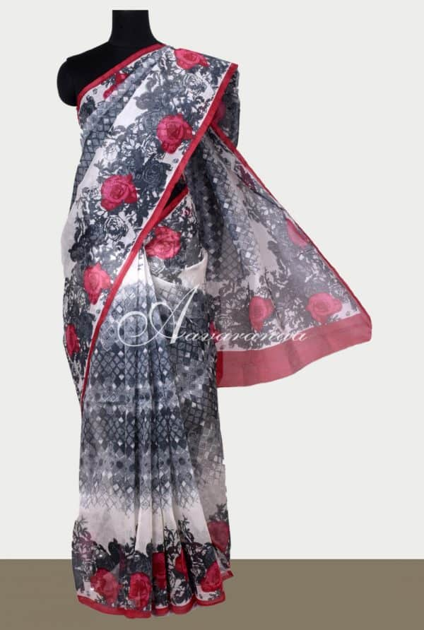 White printed supernet saree-0