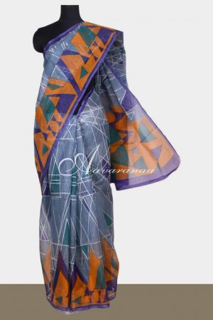 Grey printed supernet saree-0
