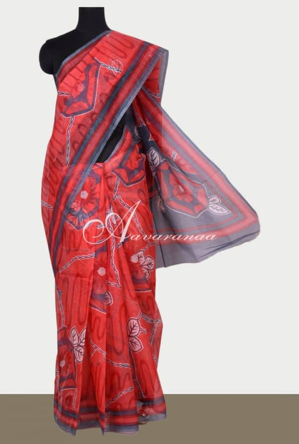 Red printed supernet saree-0