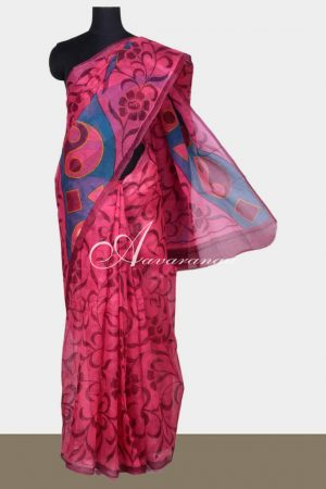 Pink printed supernet saree-0