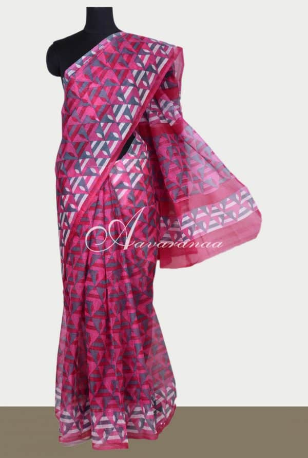 Pink printed supernet saree-0