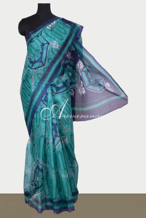 Teal printed supernet saree-0