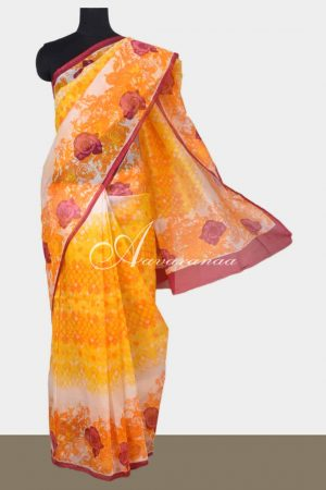 Beige with multi color printed supernet saree-0