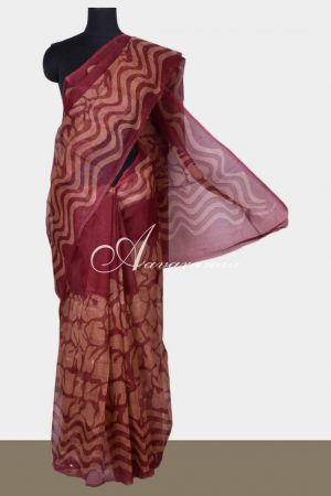 Maroon printed supernet saree-0
