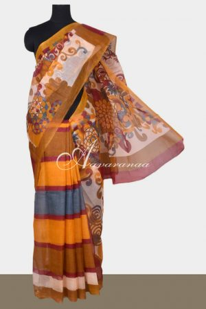 Multi color printed supernet saree-0