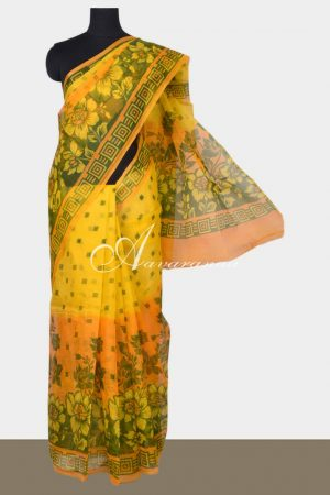 Yellow printed supernet saree-0