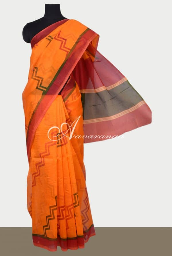 Fanta Orange printed supernet saree-0