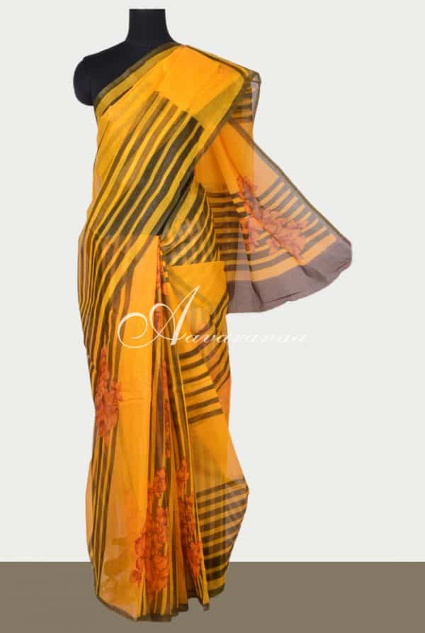 Bright Mustard printed supernet saree-0