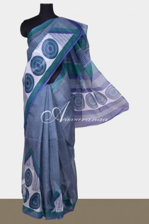 Blue printed supernet saree-0