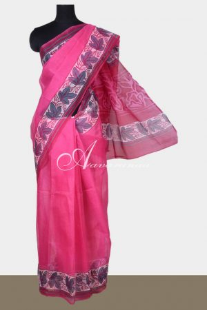 Dark Pink printed supernet saree-0
