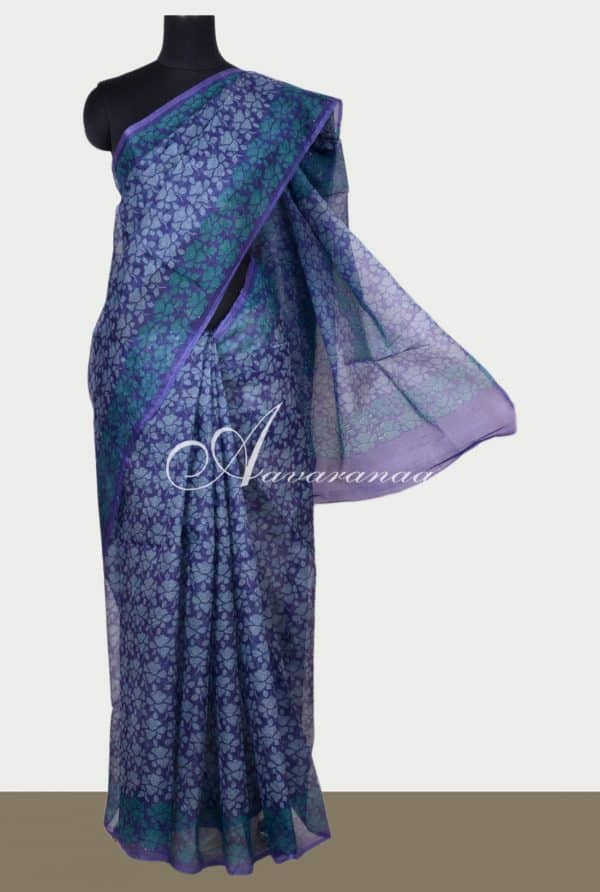 Navy blue printed supernet saree-0