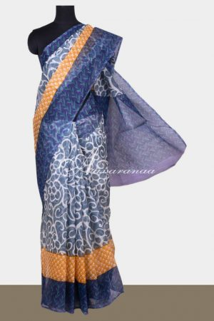 Grey supernet saree with prints-0