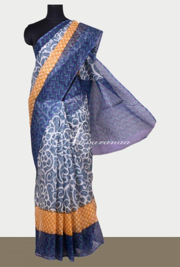 Grey supernet saree with prints-0