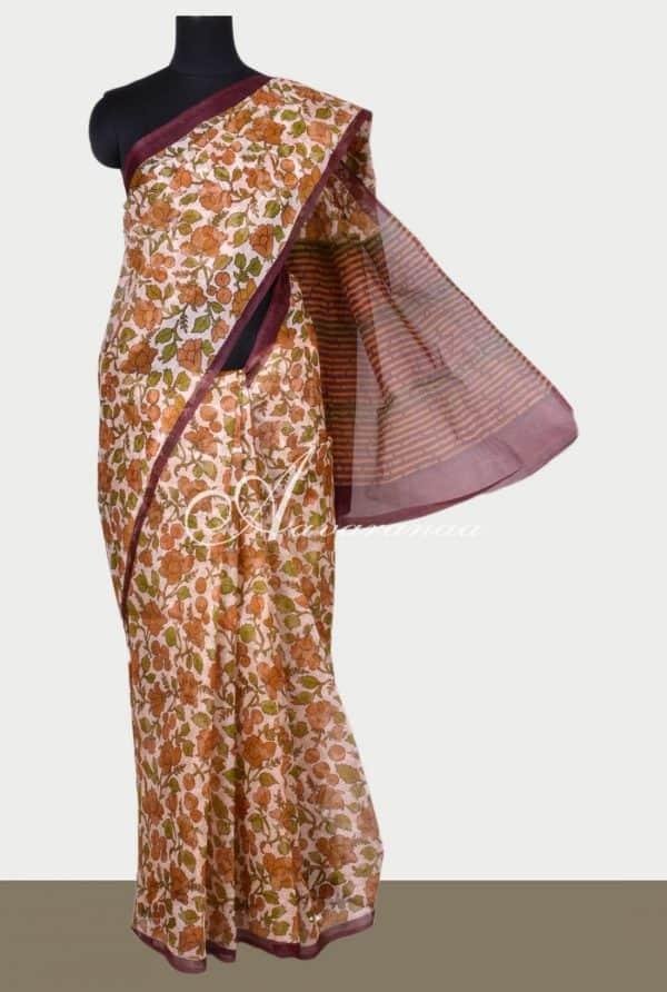 Beige supernet saree with prints-0