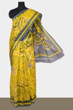 Yellow supernet saree with prints-0