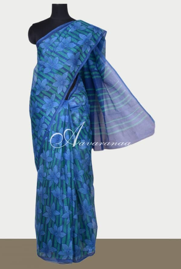 Blue floral printed supernet saree-0