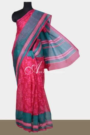 Pink floral printed supernet saree-0