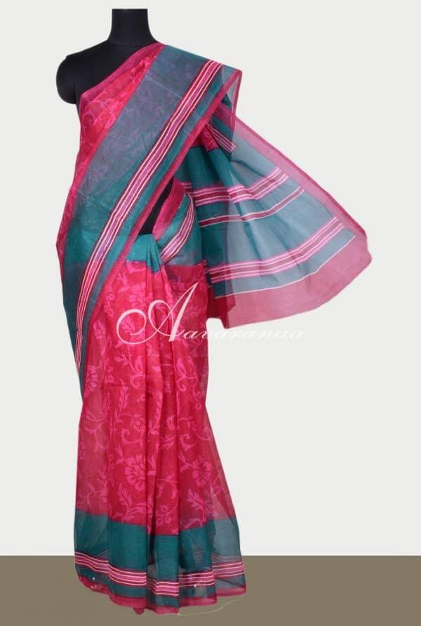 Pink floral printed supernet saree-0