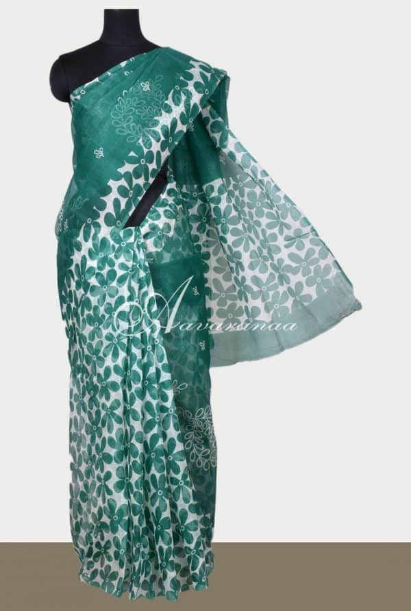 White and Green floral printed supernet saree-0