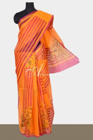 Orange floral printed supernet sarees -0