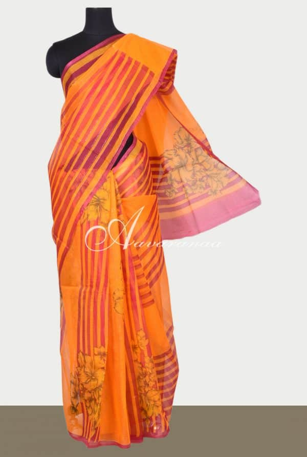 Orange floral printed supernet sarees -0
